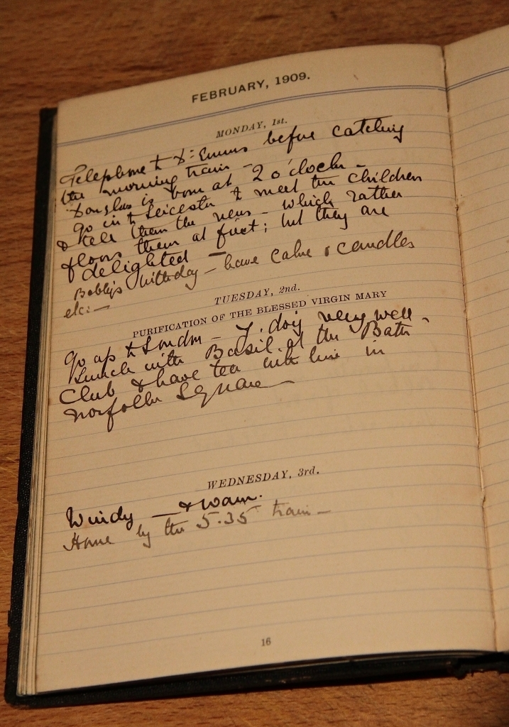 Grono's diary entry of Douglas's birth 1/2/1909