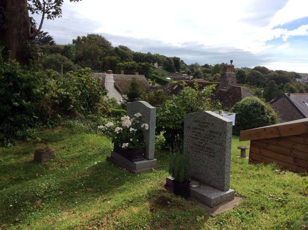 Our parents' (Douglas and Rachel Hall) grave within sight of the sea and their house