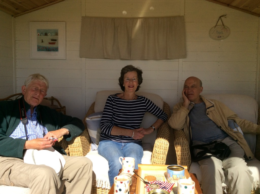 Happy chats with Madeleine in her summerhouse