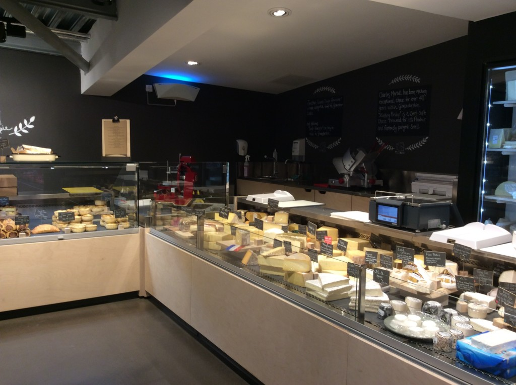 Well-stocked cheese counter
