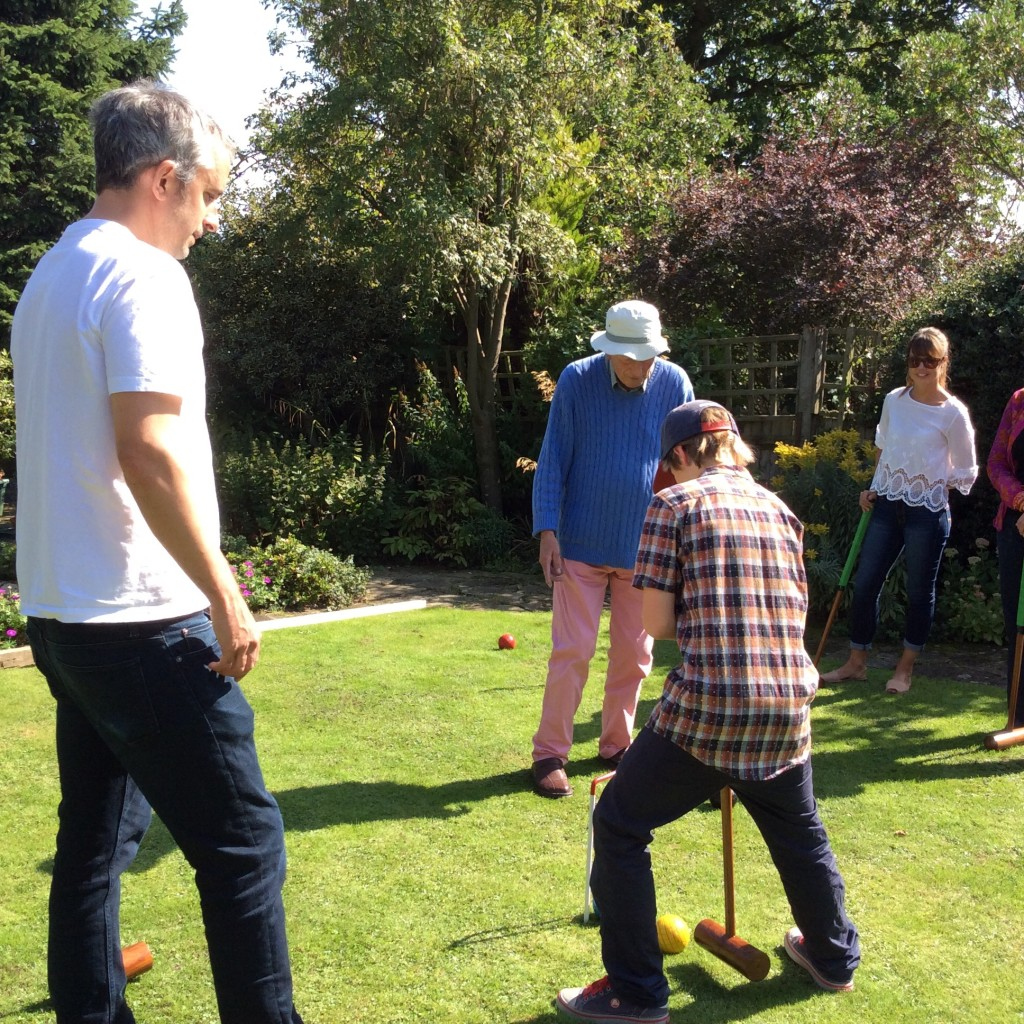 Croquet and then a new game to us, Kubb