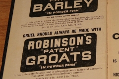 Robinson's Barley ad in 1909 diary