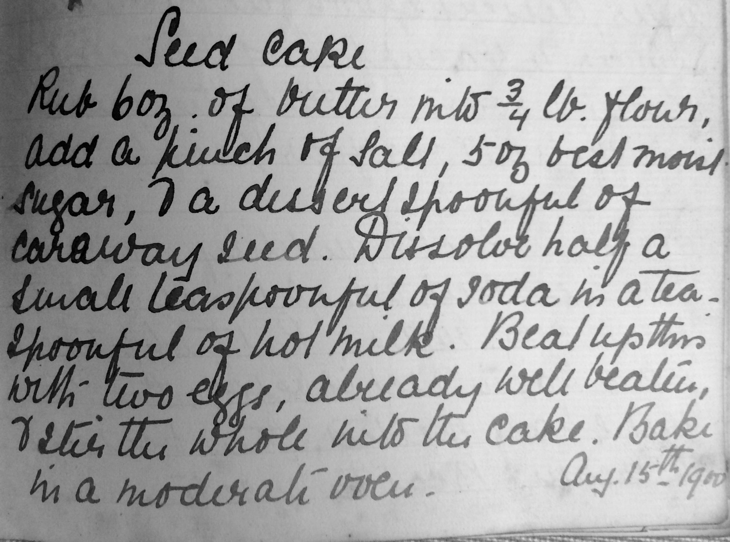 Granny Hall's Seed Cake recipe 1900