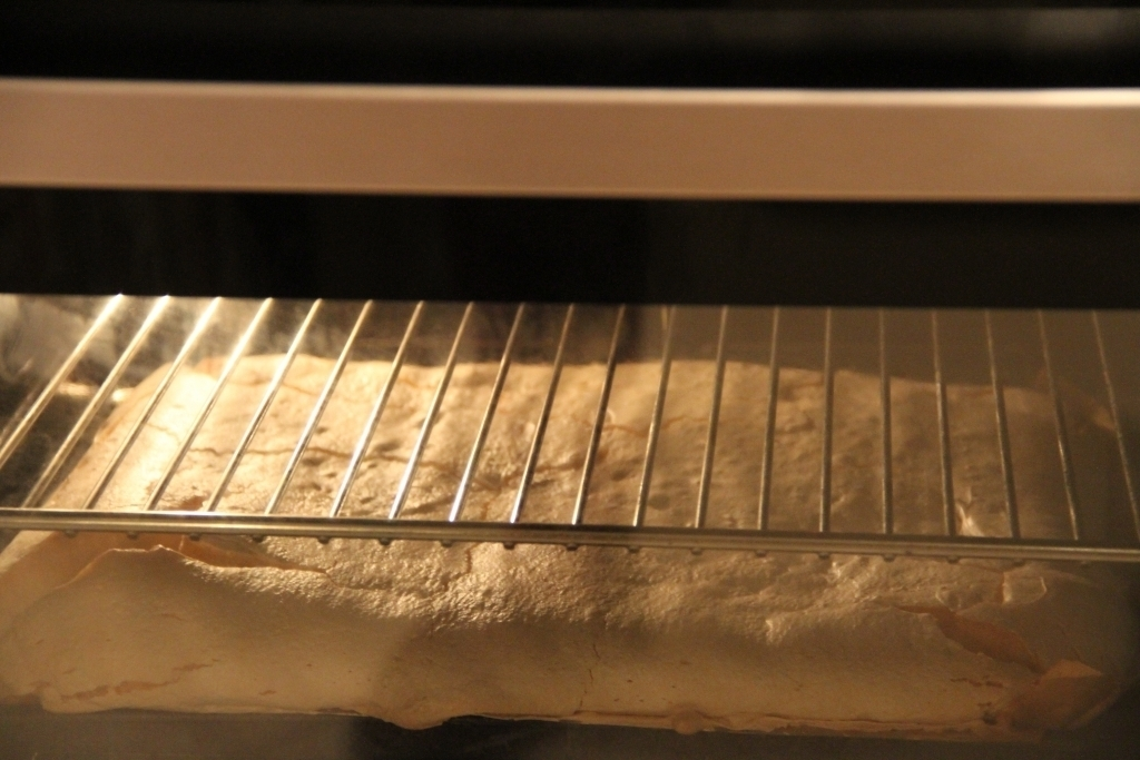 The roulade ready to come out of the oven