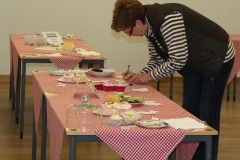 Sandra judging the Cup Cakes