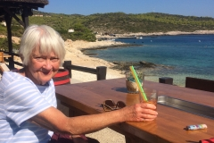 Marion relaxing in the sunshine, Teplus Beach