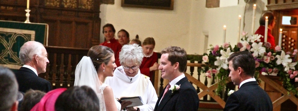 Nicola and Chris making their vows