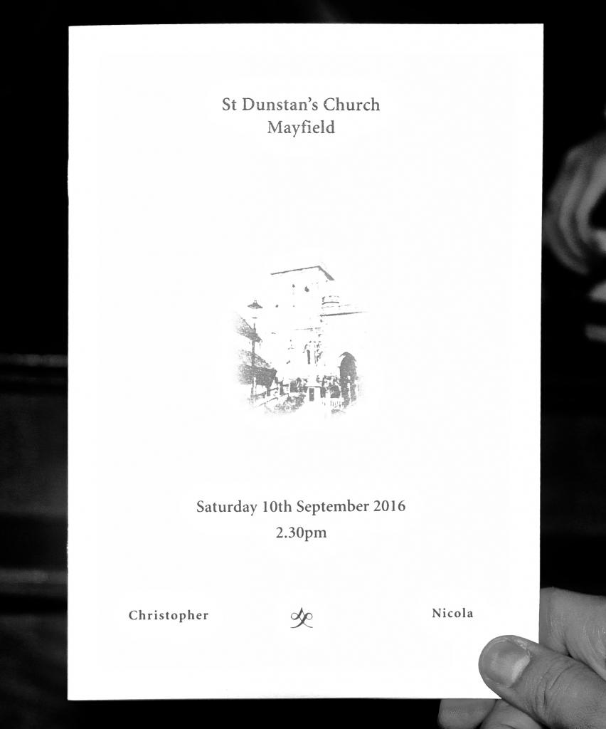 The wedding service sheet