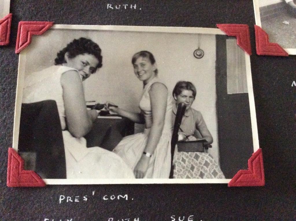 Erica, Ruth, Susan Pollitt in prefects\' common room